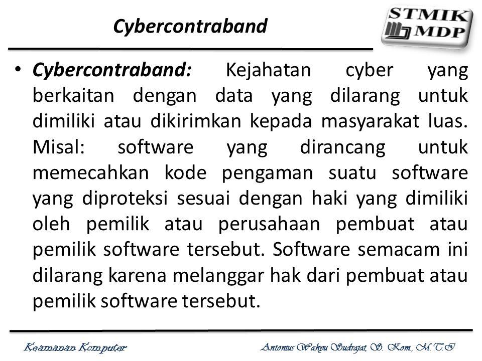 Keamanan Komputer Antonius Wahyu Sudrajat, S. Kom., M.T.I Cybercontraband Cybercontraband: Kejahatan cyber yang berkaitan dengan data yang dilarang un