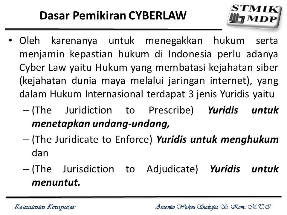 Keamanan Komputer Antonius Wahyu Sudrajat, S. Kom., M.T.I Dasar Pemikiran CYBERLAW Oleh karenanya untuk menegakkan hukum serta menjamin kepastian huku