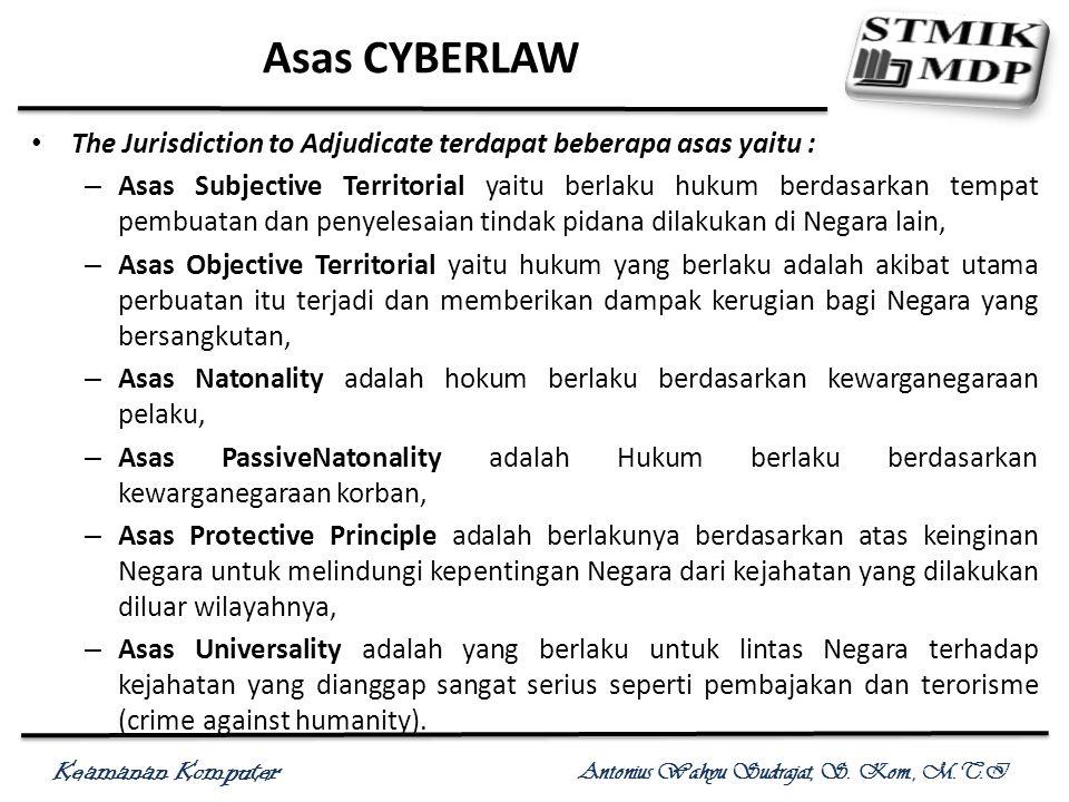 Keamanan Komputer Antonius Wahyu Sudrajat, S. Kom., M.T.I Asas CYBERLAW The Jurisdiction to Adjudicate terdapat beberapa asas yaitu : – Asas Subjectiv