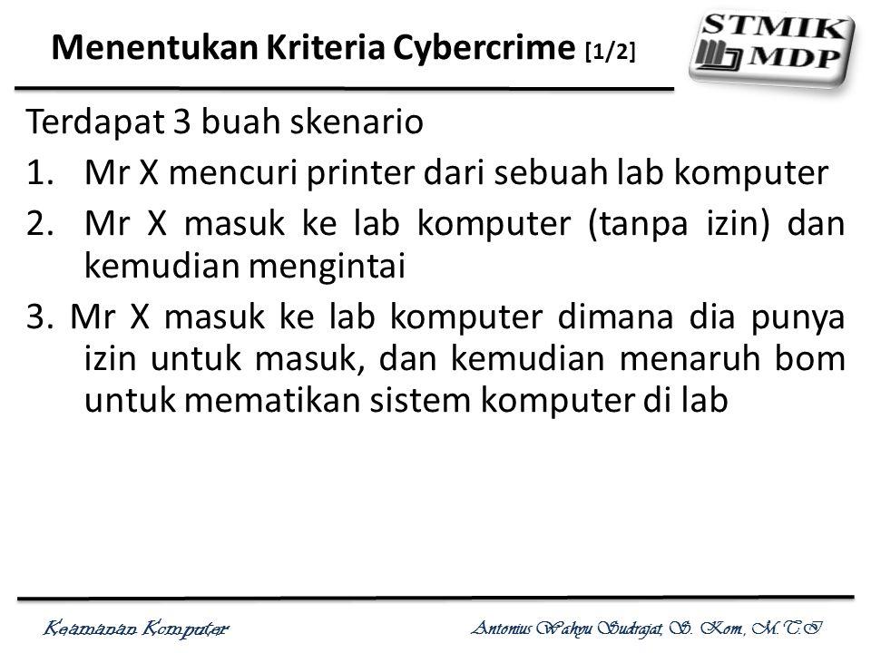 Keamanan Komputer Antonius Wahyu Sudrajat, S. Kom., M.T.I Menentukan Kriteria Cybercrime [1/2] Terdapat 3 buah skenario 1.Mr X mencuri printer dari se