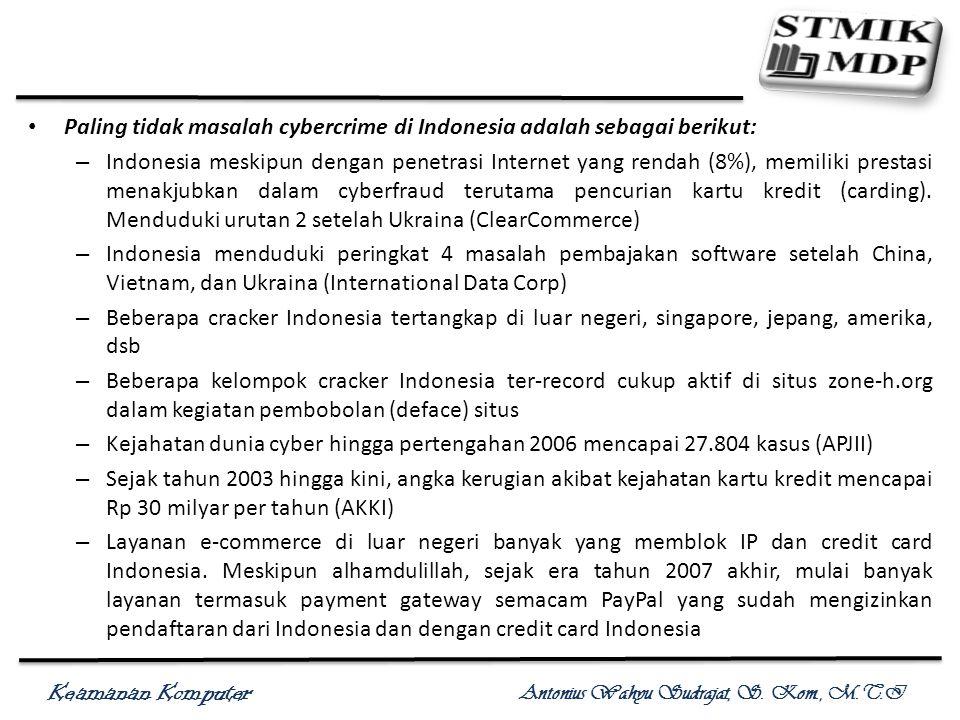 Keamanan Komputer Antonius Wahyu Sudrajat, S. Kom., M.T.I Paling tidak masalah cybercrime di Indonesia adalah sebagai berikut: – Indonesia meskipun de