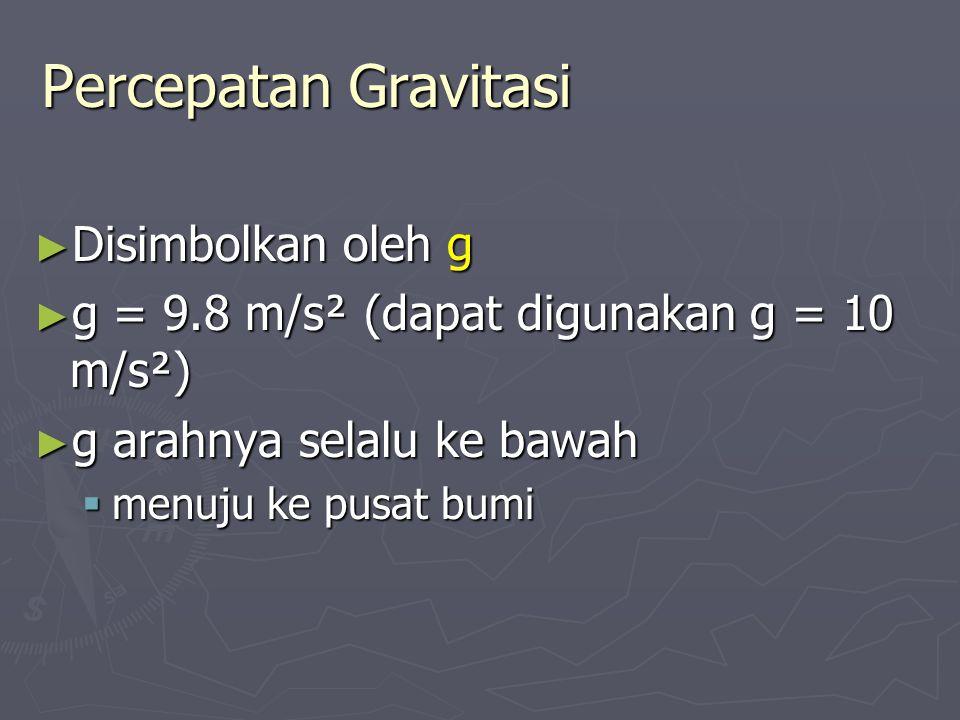 Jatuh Bebas – Benda dilepaskan ► Kecepatan awal = nol ► Kerangka: ke atas positif ► Gunakan persamaan kinematika  Umumnya menggunakan y karena vertikal v o = 0 a = g y x