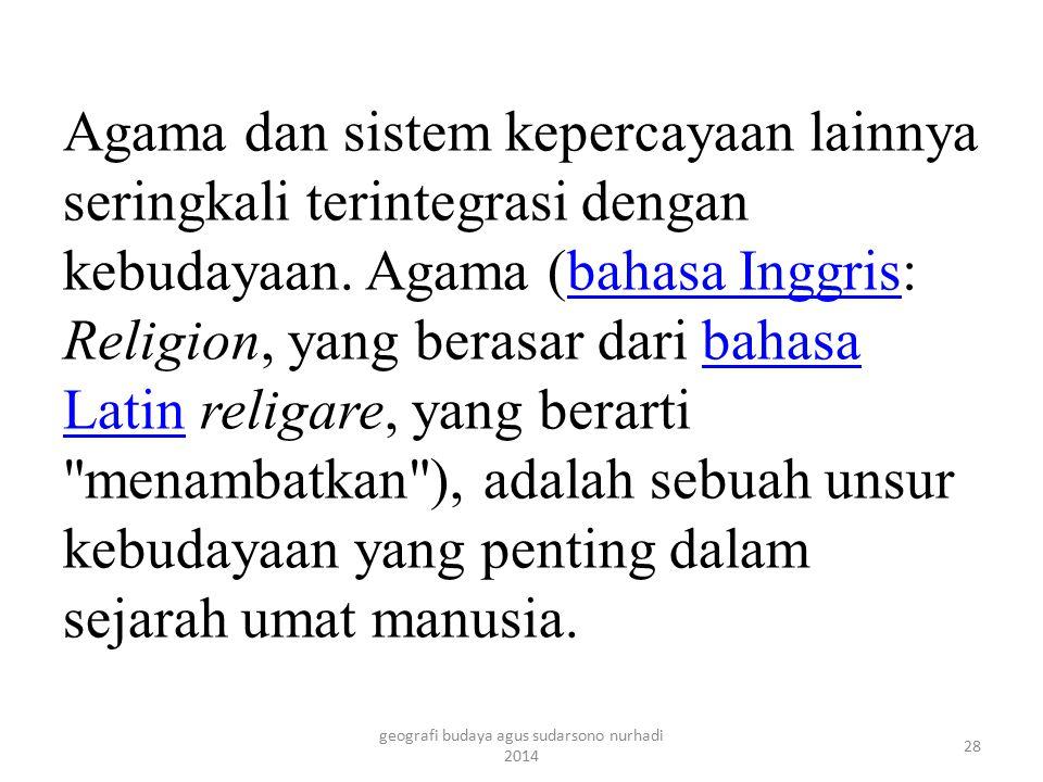 Dictionary of Philosophy and Religion (Kamus Filosofi dan Agama) mendefinisikan Agama sebagai berikut:...