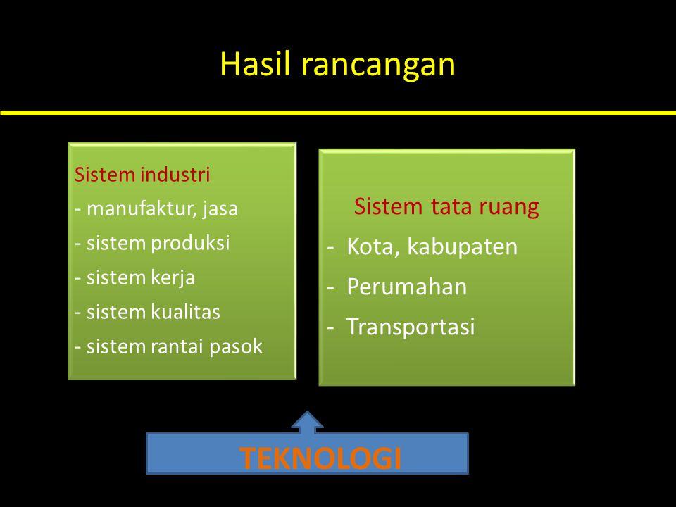 Hasil rancangan Sistem industri - manufaktur, jasa - sistem produksi - sistem kerja - sistem kualitas - sistem rantai pasok Sistem tata ruang - Kota,