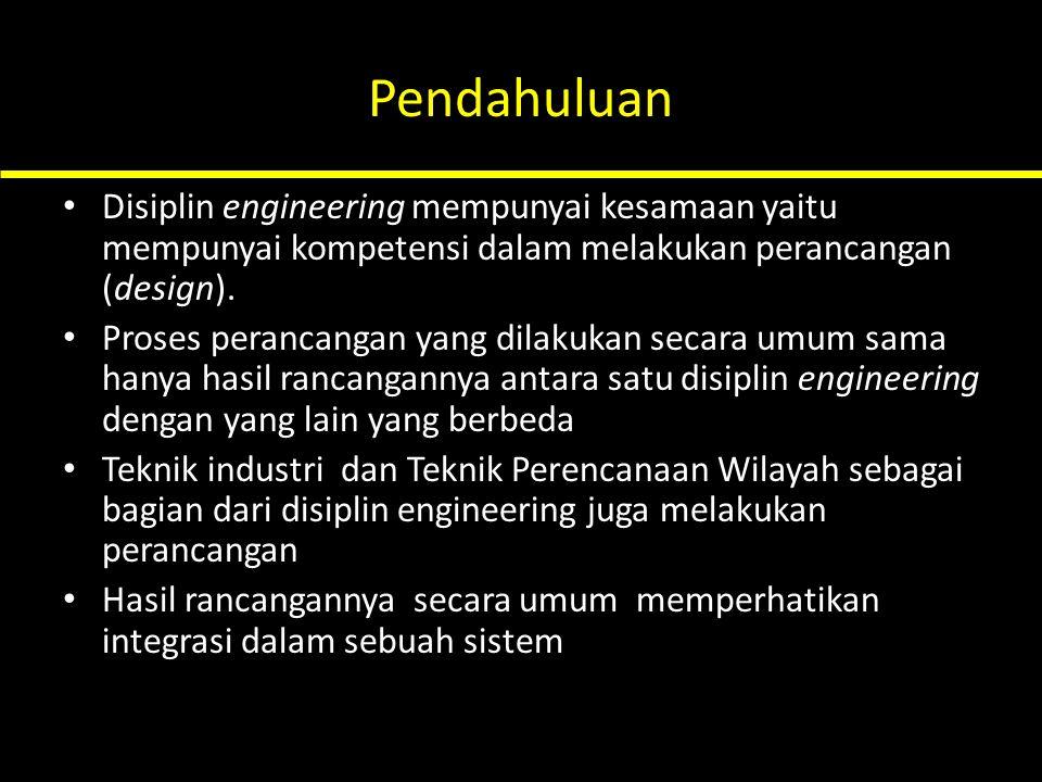 Pendahuluan Disiplin engineering mempunyai kesamaan yaitu mempunyai kompetensi dalam melakukan perancangan (design). Proses perancangan yang dilakukan