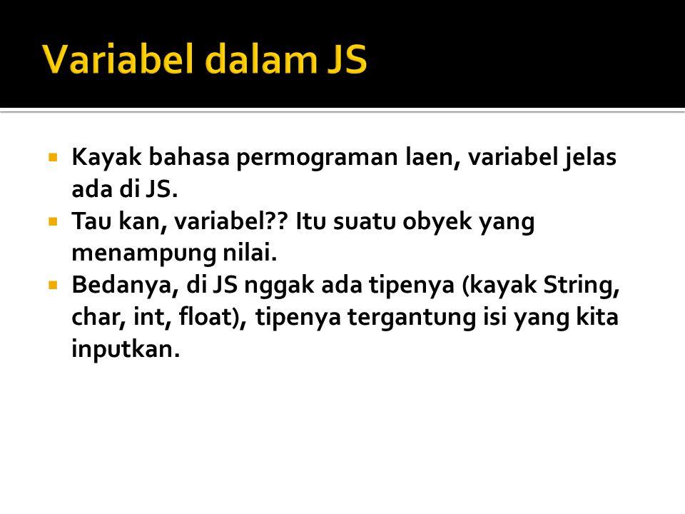 var name = Site Title ; document.write(name); document.write( +name+ );  Pada contoh di atas, ada cara mendeklarasikan variabel (baris 2)  Mengisi variabel (baris 2 juga)  Dan menampilkannya (baris 3 en 4)  Gampang kan.