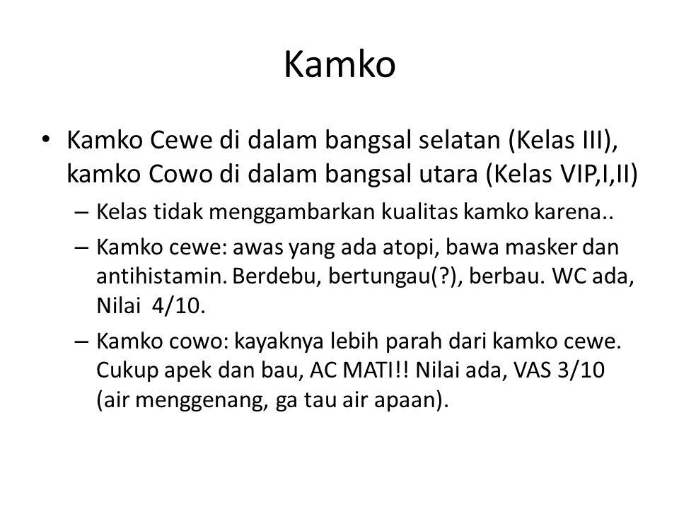 Kamko Kamko Cewe di dalam bangsal selatan (Kelas III), kamko Cowo di dalam bangsal utara (Kelas VIP,I,II) – Kelas tidak menggambarkan kualitas kamko k