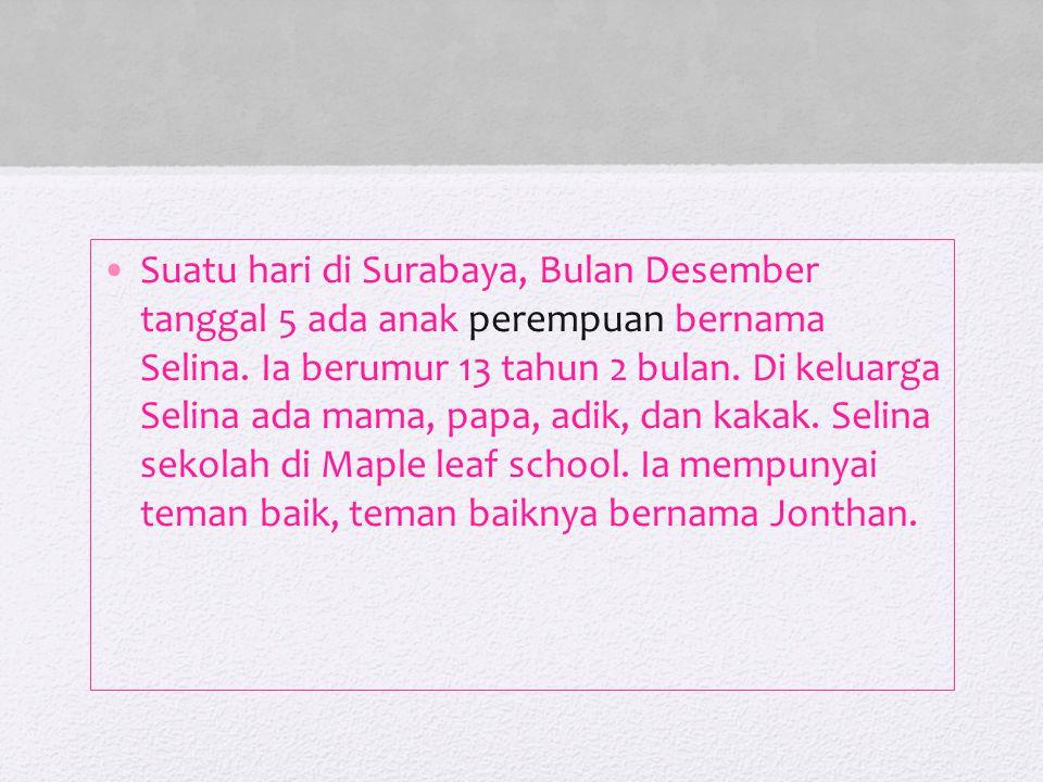 Suatu hari di Surabaya, Bulan Desember tanggal 5 ada anak perempuan bernama Selina.