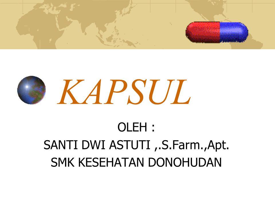 Pengertian Kapsul adalah sediaan padat yang terdiri dari obat dalam cangkang keras atau lunak yang dapat larut.