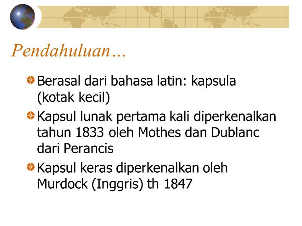 Pendahuluan… Berasal dari bahasa latin: kapsula (kotak kecil) Kapsul lunak pertama kali diperkenalkan tahun 1833 oleh Mothes dan Dublanc dari Perancis