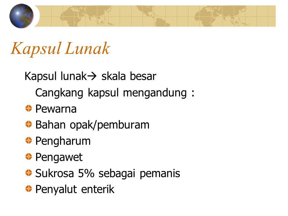 Kapsul Lunak Kapsul lunak  skala besar Cangkang kapsul mengandung : Pewarna Bahan opak/pemburam Pengharum Pengawet Sukrosa 5% sebagai pemanis Penyalu