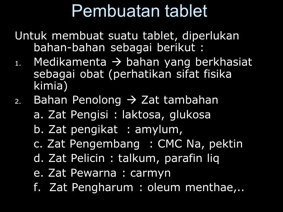 Pembuatan tablet Untuk membuat suatu tablet, diperlukan bahan-bahan sebagai berikut : 1.