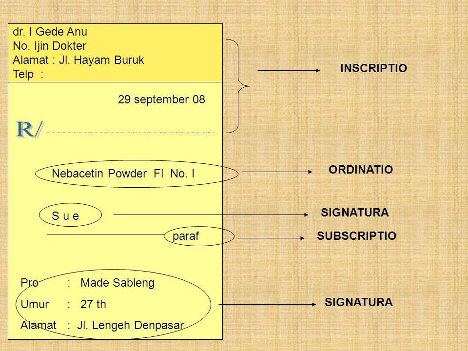 Nebacetin Powder Fl No.I S u e paraf Pro : Made Sableng Umur : 27 th Alamat: Jl.