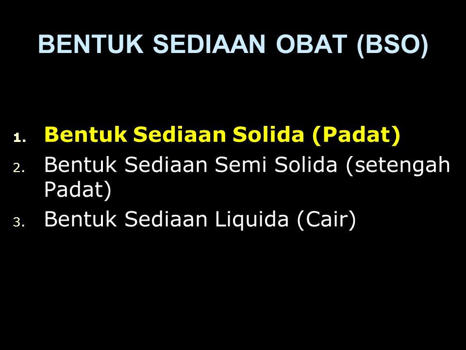 1.Bentuk Sediaan Solida (Padat) 2. Bentuk Sediaan Semi Solida (setengah Padat) 3.