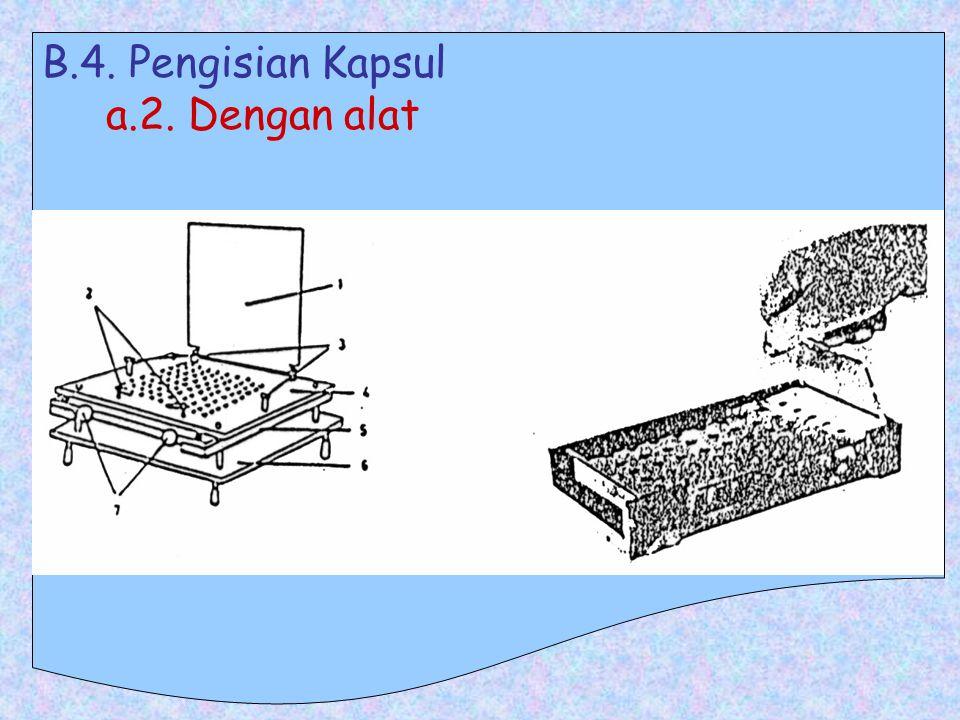 B.4. Pengisian Kapsul a. B.O. bentuk padat a.1. Tanpa alat : * Cara Blocking and Dividing : Sama spt. pd. pembuatan serbuk terbagi, dilanjutkan dg. pe