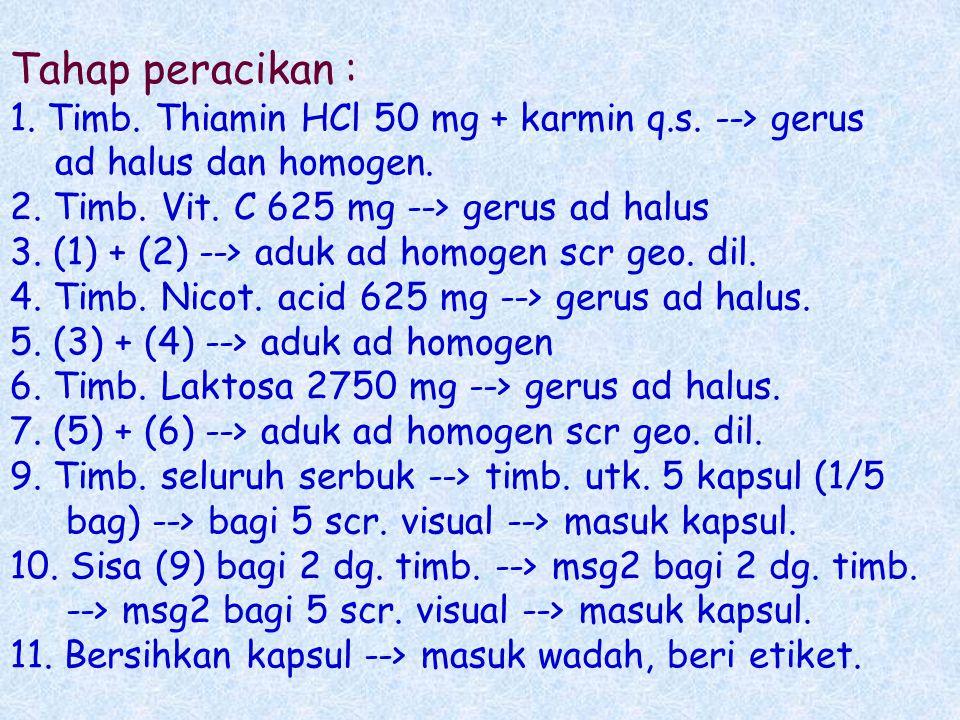 2.10. LATIHAN 25 kapsul : 1. R/ Vitamin C 25 mg 625 mg Thiamin HCl 2 mg 50 mg Nicotinic acid 25 mg 625 mg m.f.l.a.pulv.da in caps. d.t.d. No. XXV s 1