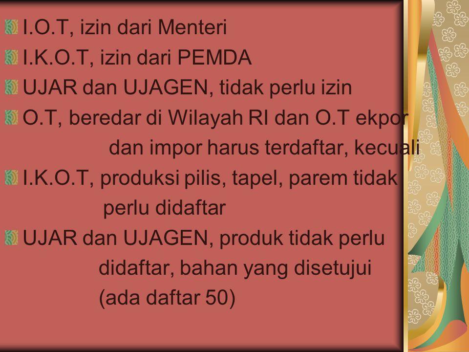 I.O.T, izin dari Menteri I.K.O.T, izin dari PEMDA UJAR dan UJAGEN, tidak perlu izin O.T, beredar di Wilayah RI dan O.T ekpor dan impor harus terdaftar