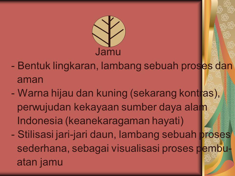 Jamu - Bentuk lingkaran, lambang sebuah proses dan aman - Warna hijau dan kuning (sekarang kontras), perwujudan kekayaan sumber daya alam Indonesia (k