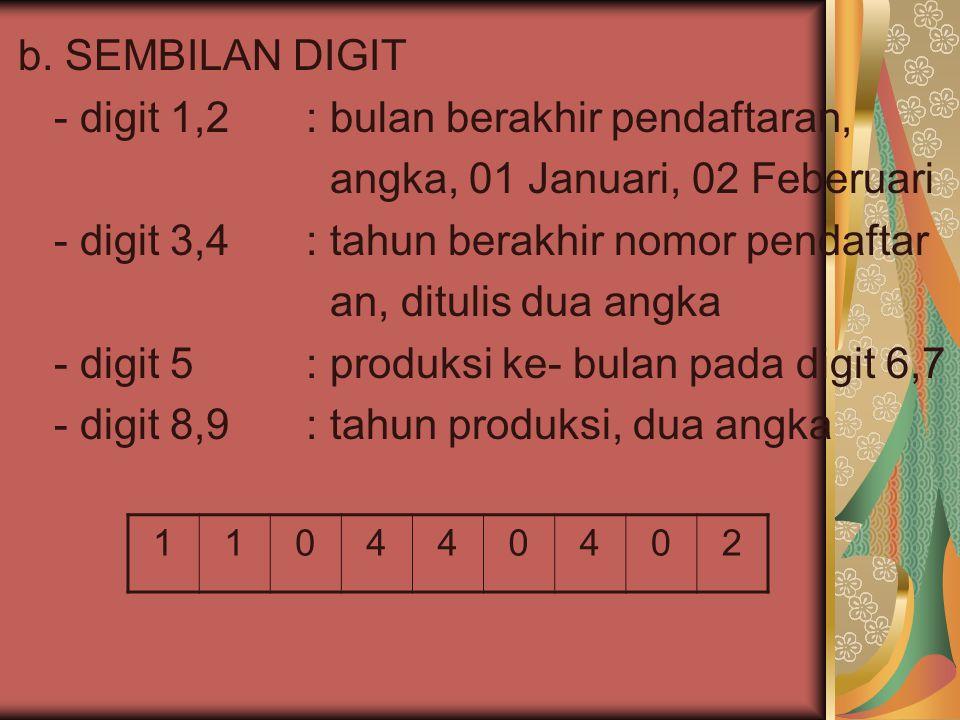 b. SEMBILAN DIGIT - digit 1,2: bulan berakhir pendaftaran, angka, 01 Januari, 02 Feberuari - digit 3,4: tahun berakhir nomor pendaftar an, ditulis dua