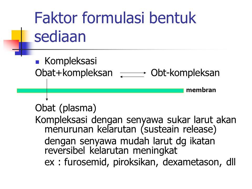 Faktor formulasi bentuk sediaan Kompleksasi Obat+kompleksan Obt-kompleksan Obat (plasma) Kompleksasi dengan senyawa sukar larut akan menurunan kelarut