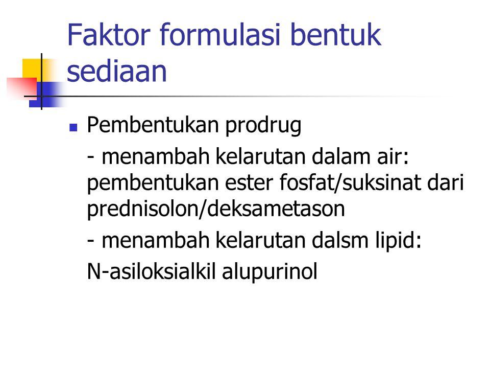 Faktor formulasi bentuk sediaan Pembentukan prodrug - menambah kelarutan dalam air: pembentukan ester fosfat/suksinat dari prednisolon/deksametason -