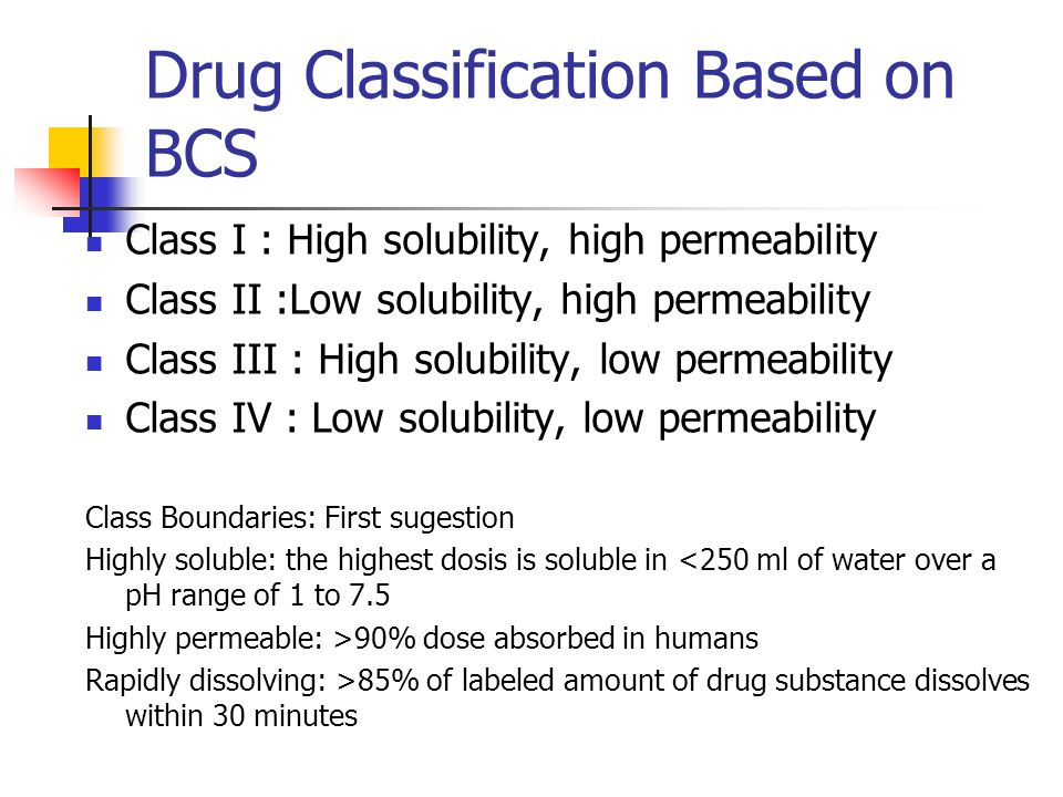 Drug Classification Based on BCS Class I : High solubility, high permeability Class II :Low solubility, high permeability Class III : High solubility,