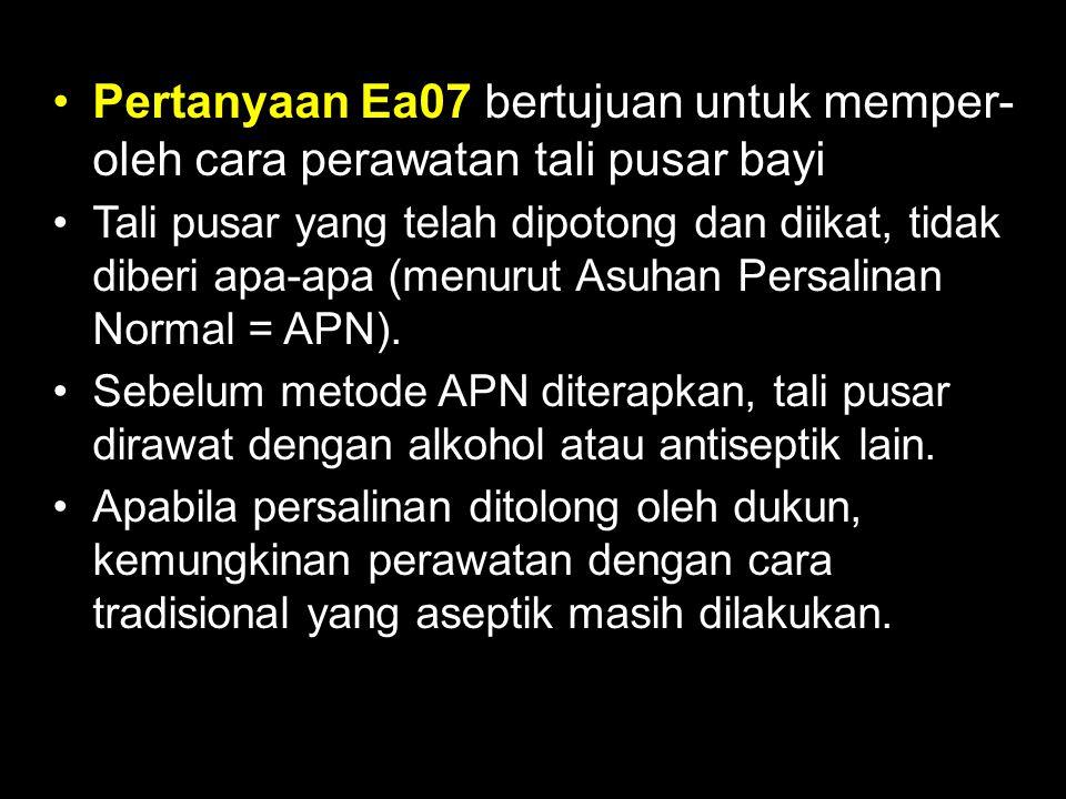 Pertanyaan Ea07 bertujuan untuk memper- oleh cara perawatan tali pusar bayi Tali pusar yang telah dipotong dan diikat, tidak diberi apa-apa (menurut A