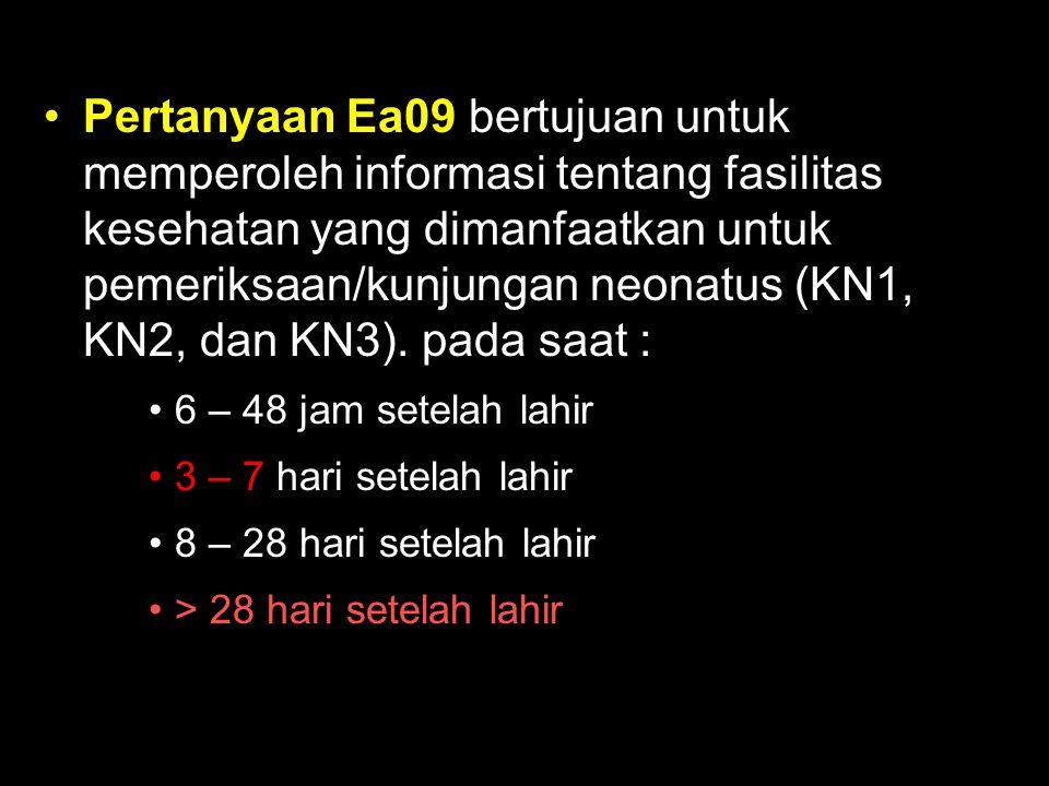 Pertanyaan Ea09 bertujuan untuk memperoleh informasi tentang fasilitas kesehatan yang dimanfaatkan untuk pemeriksaan/kunjungan neonatus (KN1, KN2, dan