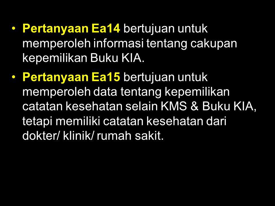 Pertanyaan Ea14 bertujuan untuk memperoleh informasi tentang cakupan kepemilikan Buku KIA. Pertanyaan Ea15 bertujuan untuk memperoleh data tentang kep