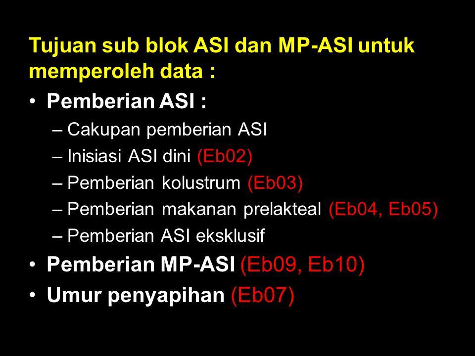 Tujuan sub blok ASI dan MP-ASI untuk memperoleh data : Pemberian ASI : –Cakupan pemberian ASI –Inisiasi ASI dini (Eb02) –Pemberian kolustrum (Eb03) –P