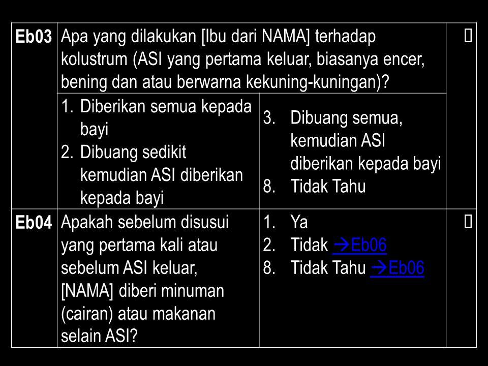 Eb03 Apa yang dilakukan [Ibu dari NAMA] terhadap kolustrum (ASI yang pertama keluar, biasanya encer, bening dan atau berwarna kekuning-kuningan)?  1.