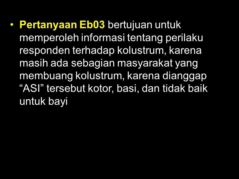 Pertanyaan Eb03 bertujuan untuk memperoleh informasi tentang perilaku responden terhadap kolustrum, karena masih ada sebagian masyarakat yang membuang