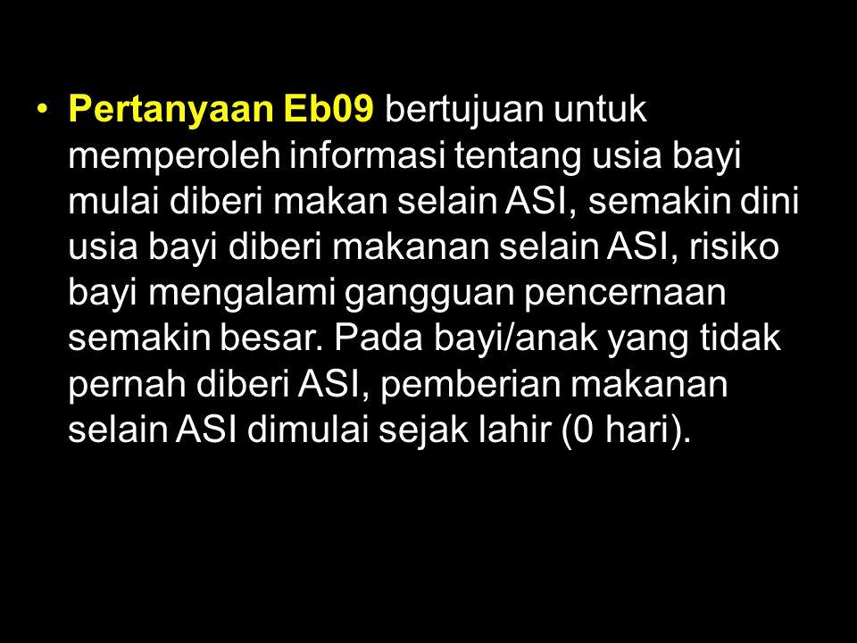 Pertanyaan Eb09 bertujuan untuk memperoleh informasi tentang usia bayi mulai diberi makan selain ASI, semakin dini usia bayi diberi makanan selain ASI