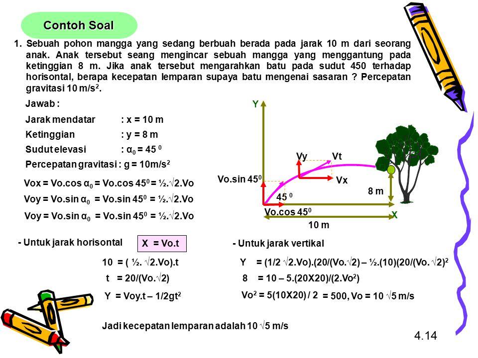 1. Sebuah pohon mangga yang sedang berbuah berada pada jarak 10 m dari seorang anak. Anak tersebut seang mengincar sebuah mangga yang menggantung pada