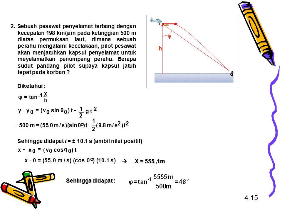 Sehingga didapat t = ± 10.1 s (ambil nilai positif) Diketahui : X = 555,1m Sehingga didapat : h 2. Sebuah pesawat penyelamat terbang dengan kecepatan