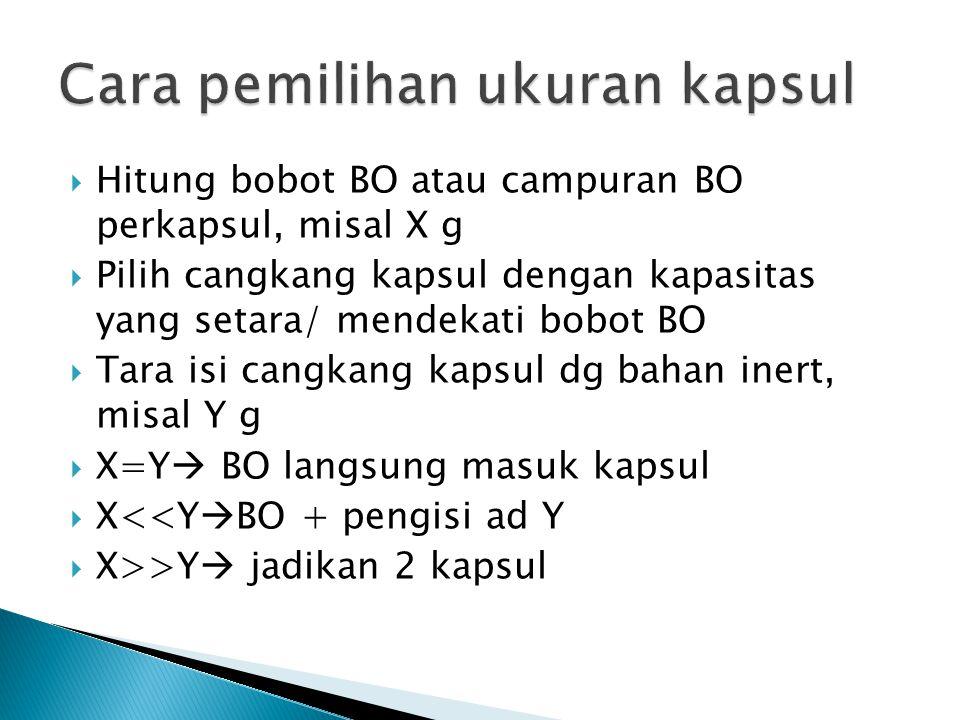  Hitung bobot BO atau campuran BO perkapsul, misal X g  Pilih cangkang kapsul dengan kapasitas yang setara/ mendekati bobot BO  Tara isi cangkang k