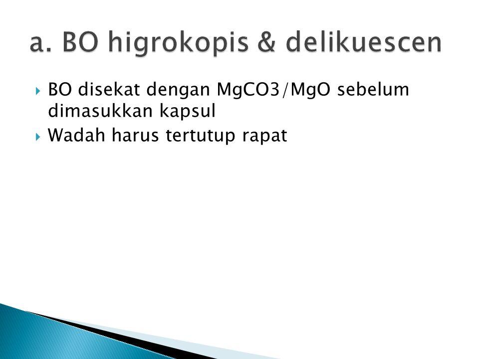  BO disekat dengan MgCO3/MgO sebelum dimasukkan kapsul  Wadah harus tertutup rapat