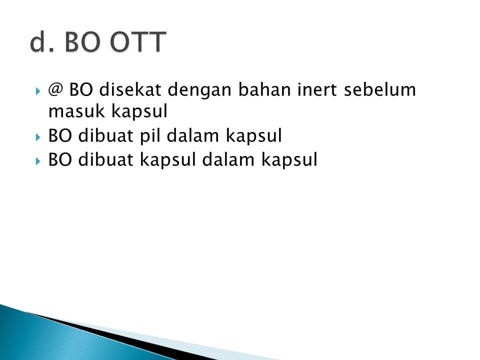  @ BO disekat dengan bahan inert sebelum masuk kapsul  BO dibuat pil dalam kapsul  BO dibuat kapsul dalam kapsul