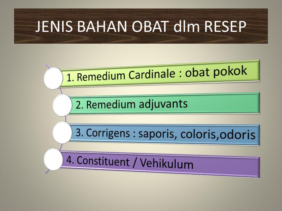 JENIS BAHAN OBAT dlm RESEP