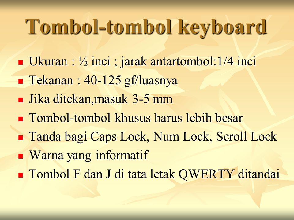 Tombol-tombol keyboard Ukuran : ½ inci ; jarak antartombol:1/4 inci Ukuran : ½ inci ; jarak antartombol:1/4 inci Tekanan : 40-125 gf/luasnya Tekanan : 40-125 gf/luasnya Jika ditekan,masuk 3-5 mm Jika ditekan,masuk 3-5 mm Tombol-tombol khusus harus lebih besar Tombol-tombol khusus harus lebih besar Tanda bagi Caps Lock, Num Lock, Scroll Lock Tanda bagi Caps Lock, Num Lock, Scroll Lock Warna yang informatif Warna yang informatif Tombol F dan J di tata letak QWERTY ditandai Tombol F dan J di tata letak QWERTY ditandai