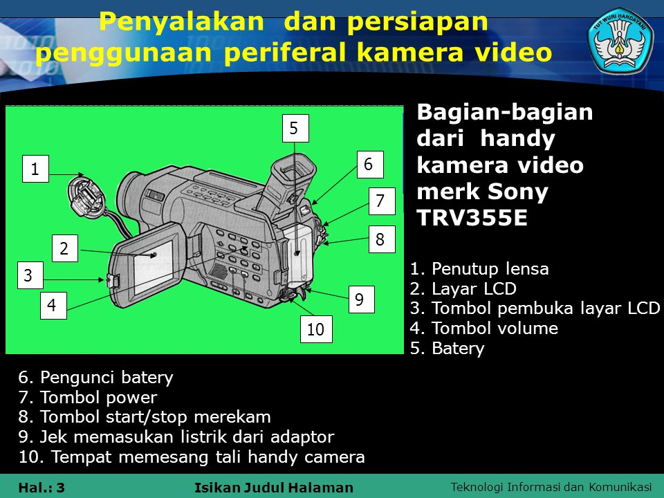 Teknologi Informasi dan Komunikasi Hal.: 3Isikan Judul Halaman Penyalakan dan persiapan penggunaan periferal kamera video 1 2 3 5 4 6 7 8 9 10 1. Penu