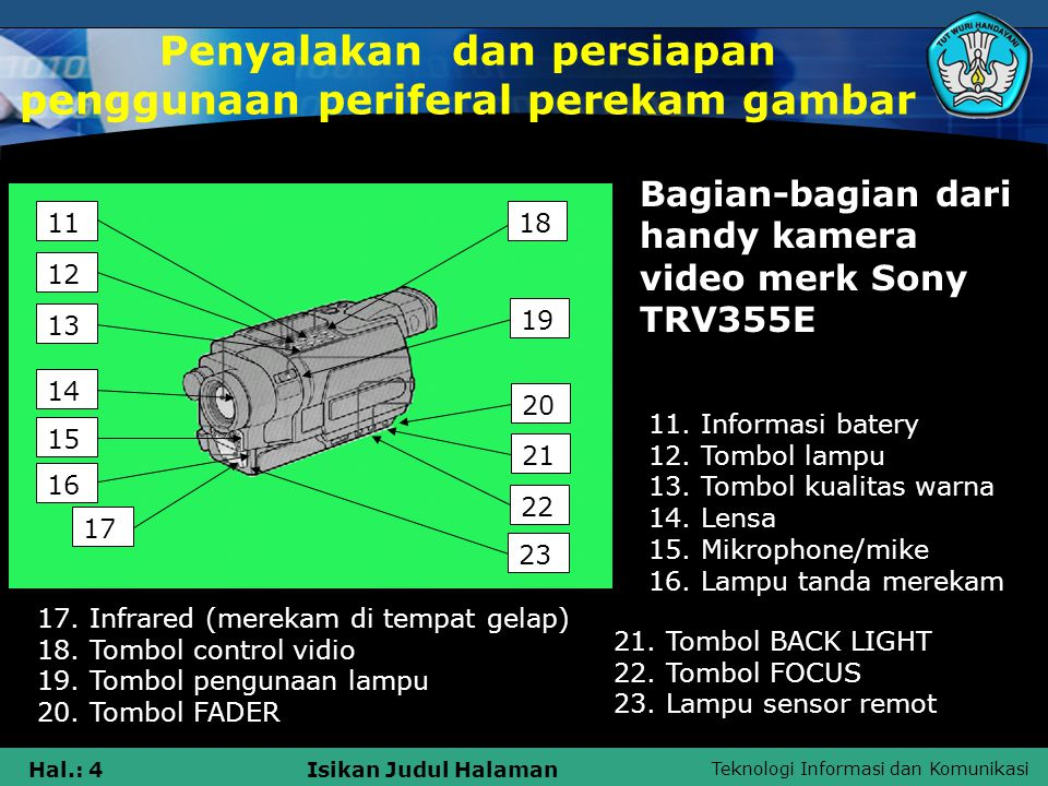 Teknologi Informasi dan Komunikasi Hal.: 4Isikan Judul Halaman 12 23 19 1811 17 16 15 14 13 22 20 21 Bagian-bagian dari handy kamera video merk Sony TRV355E 11.
