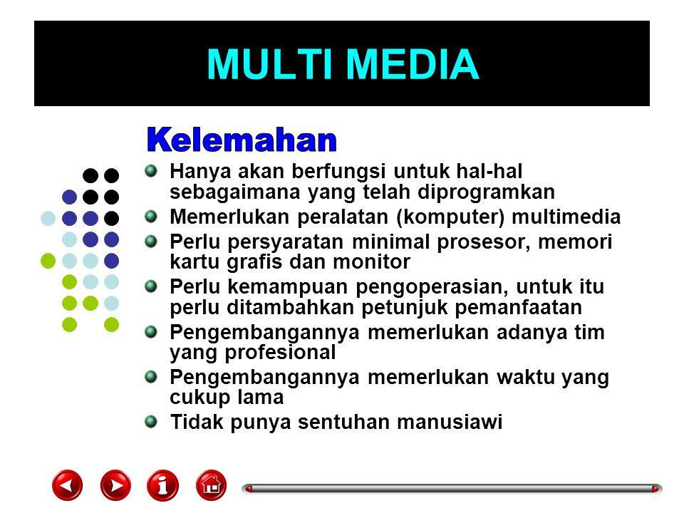 MULTI MEDIA Hanya akan berfungsi untuk hal-hal sebagaimana yang telah diprogramkan Memerlukan peralatan (komputer) multimedia Perlu persyaratan minima