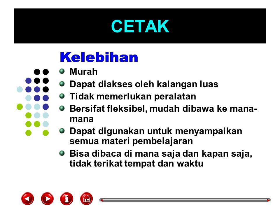 CETAK Membutuhkan reading habits Membutuhkan pengetahuan awal (prior knowledge) Kurang bisa membantu daya ingat Apabila penyajiannya (font, warna, ilustrasi) tidak menarik, akan cepat membosankan
