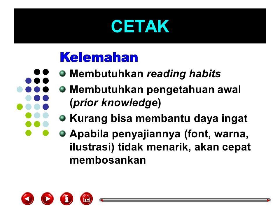 CETAK Membutuhkan reading habits Membutuhkan pengetahuan awal (prior knowledge) Kurang bisa membantu daya ingat Apabila penyajiannya (font, warna, ilu