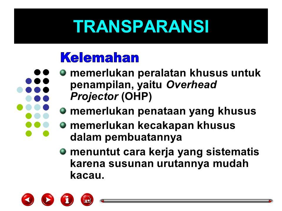 TRANSPARANSI memerlukan peralatan khusus untuk penampilan, yaitu Overhead Projector (OHP) memerlukan penataan yang khusus memerlukan kecakapan khusus