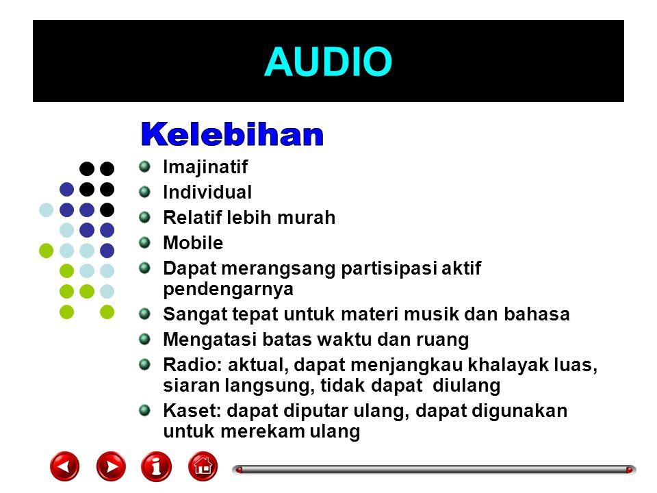 AUDIO Komunikasi satu arah Abstrak, terutama berkaitan dengan angka, ukuran, penghitungan dll Auditif, sehingga membutuhkan konsentrasi dalam mendengarkan Radio: tidak bisa diulang, kontrol ada pada stasiun radio, rentan cuaca, kalau tidak menarik pendengar beralih stasiun lain Kaset: bisa terhapus, bisa kusut, tdk bisa disimpan lama