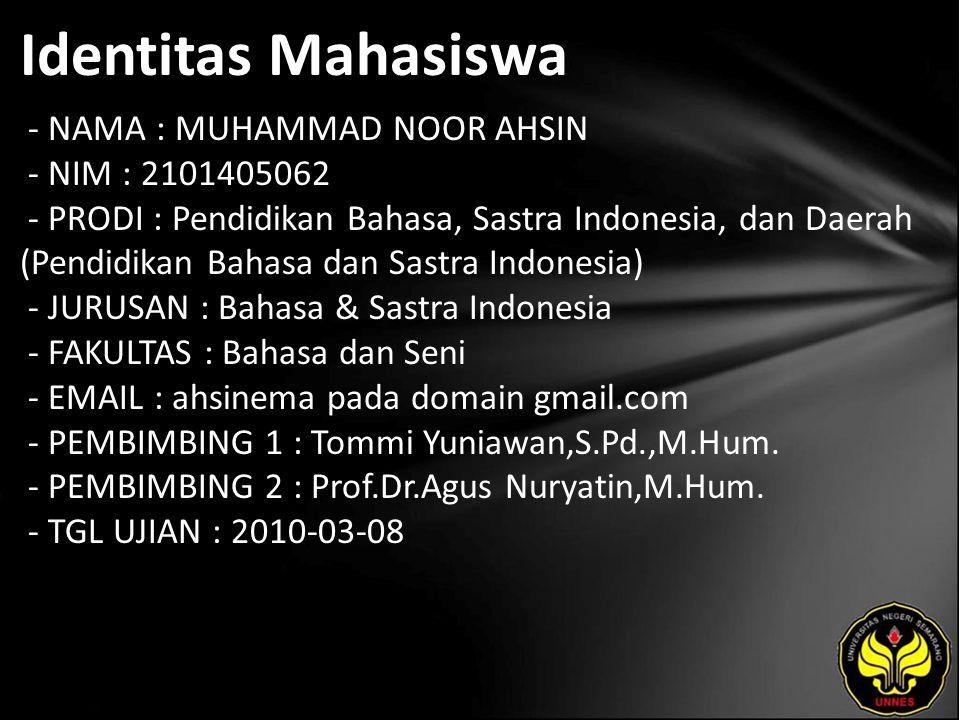 Identitas Mahasiswa - NAMA : MUHAMMAD NOOR AHSIN - NIM : 2101405062 - PRODI : Pendidikan Bahasa, Sastra Indonesia, dan Daerah (Pendidikan Bahasa dan S