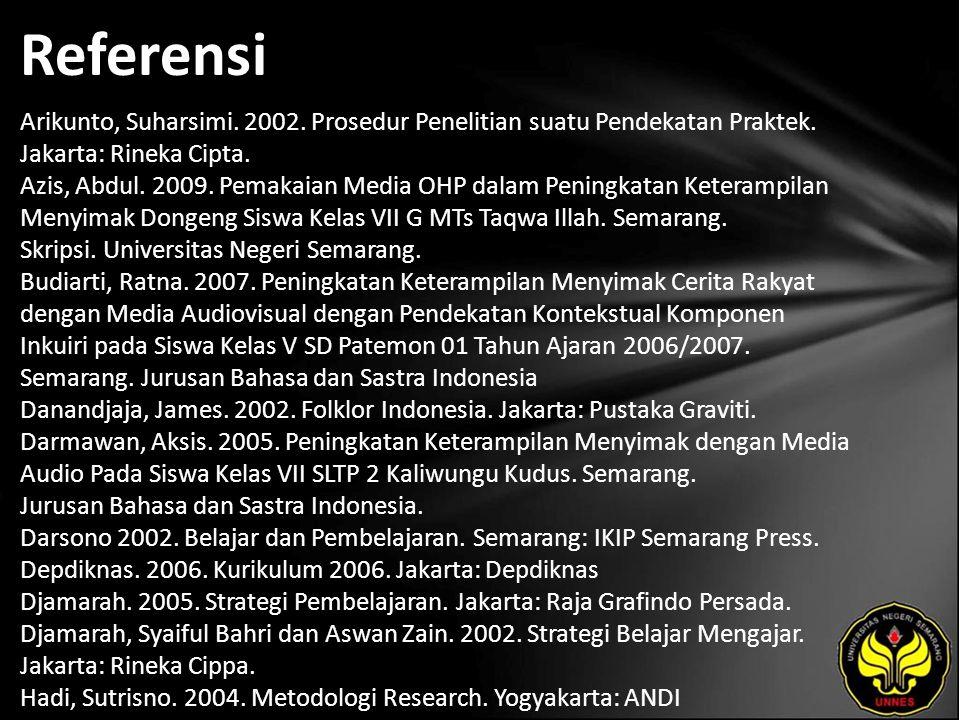 Referensi Arikunto, Suharsimi. 2002. Prosedur Penelitian suatu Pendekatan Praktek. Jakarta: Rineka Cipta. Azis, Abdul. 2009. Pemakaian Media OHP dalam
