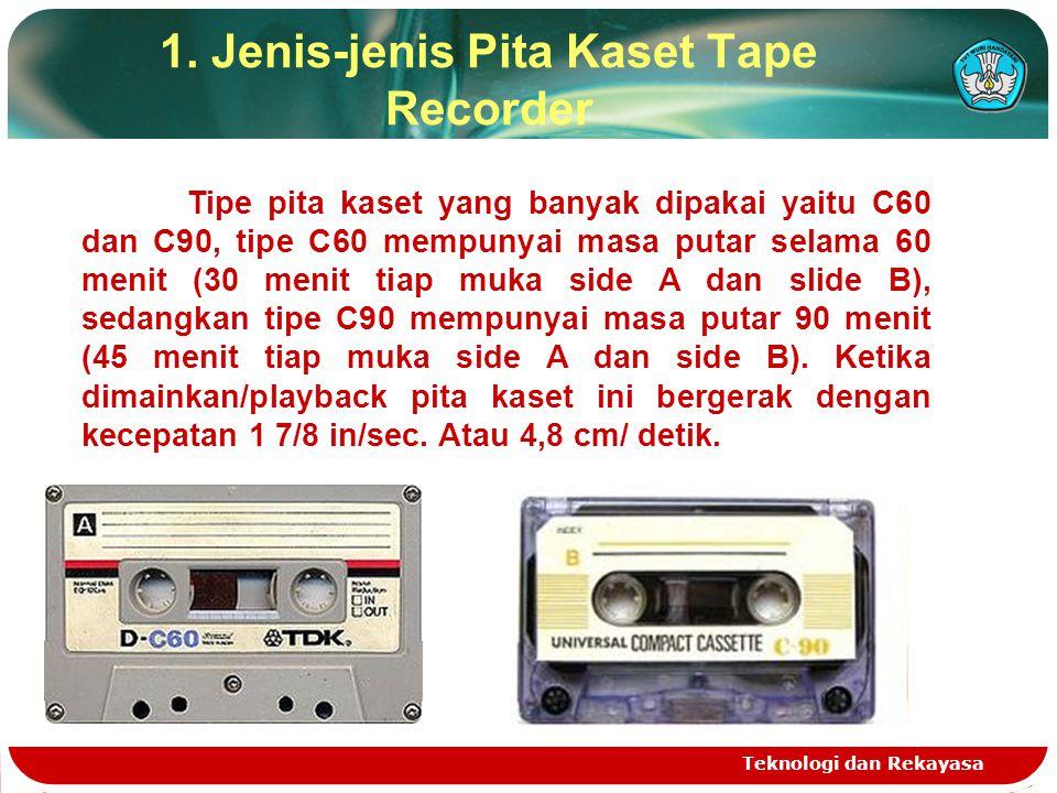 1. Jenis-jenis Pita Kaset Tape Recorder Teknologi dan Rekayasa Tipe pita kaset yang banyak dipakai yaitu C60 dan C90, tipe C60 mempunyai masa putar se